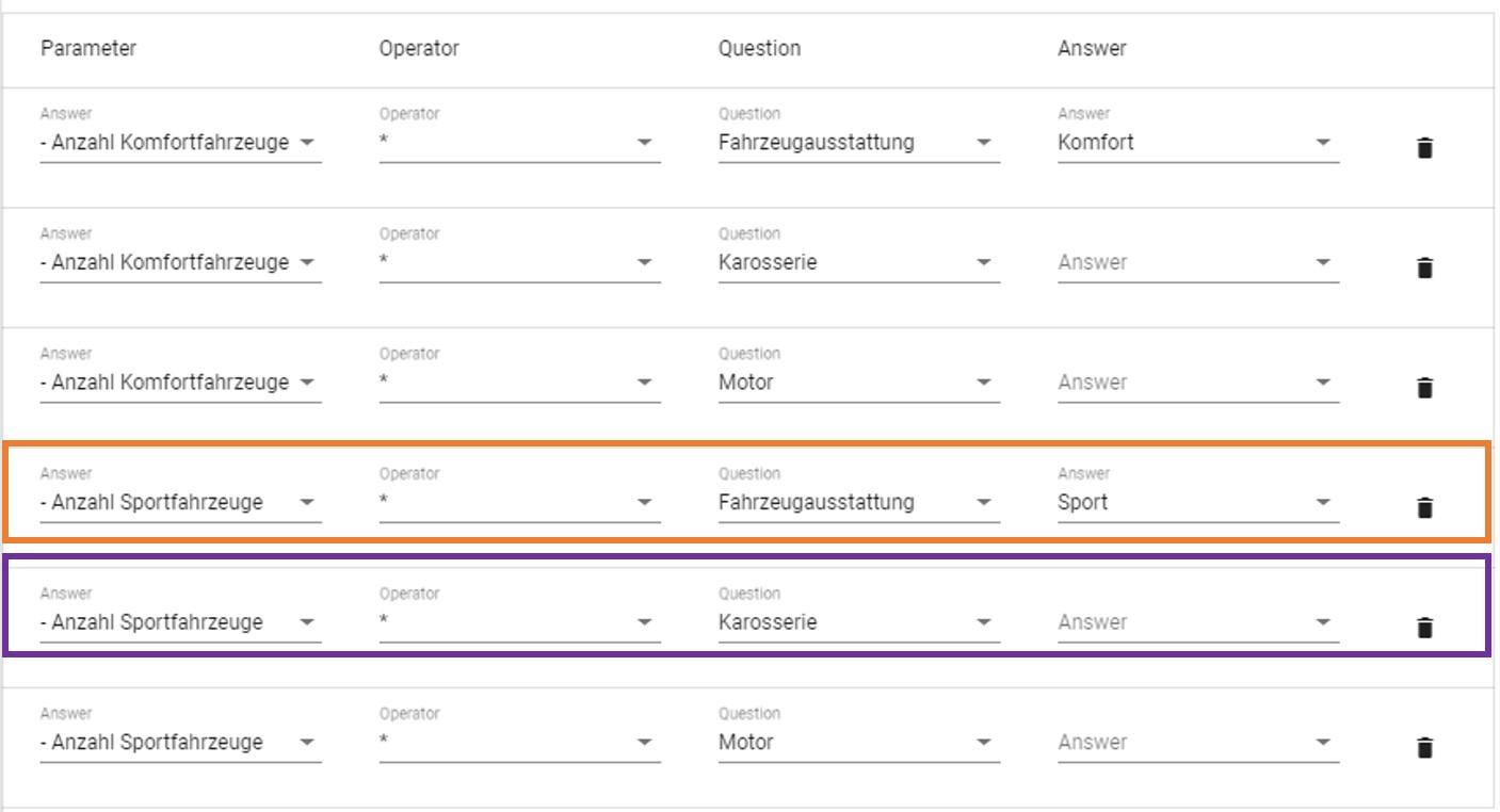 Stückliste Parameter