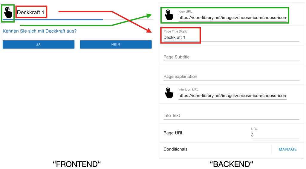Icon URL und Page Name