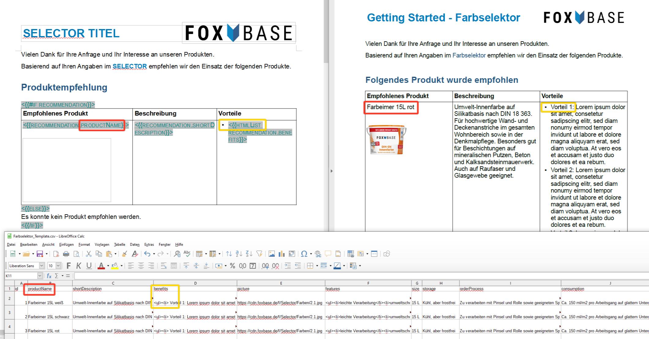 Beispiel des PDF-Templates