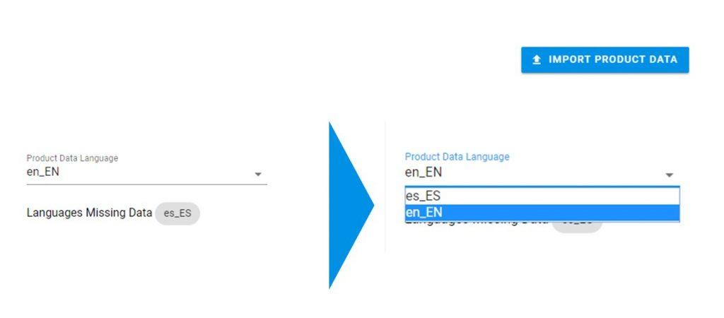 """ACHTUNG: Um jedoch die zuvor hinzugefügten Produktdaten in der Standardsprache nicht zu überschreiben, muss vor dem Upload bei """"Product Data Language"""" die entsprechende Sprache ausgewählt werden. Erst danach können die Produktdaten in einer neuen Sprache hochgeladen werden."""