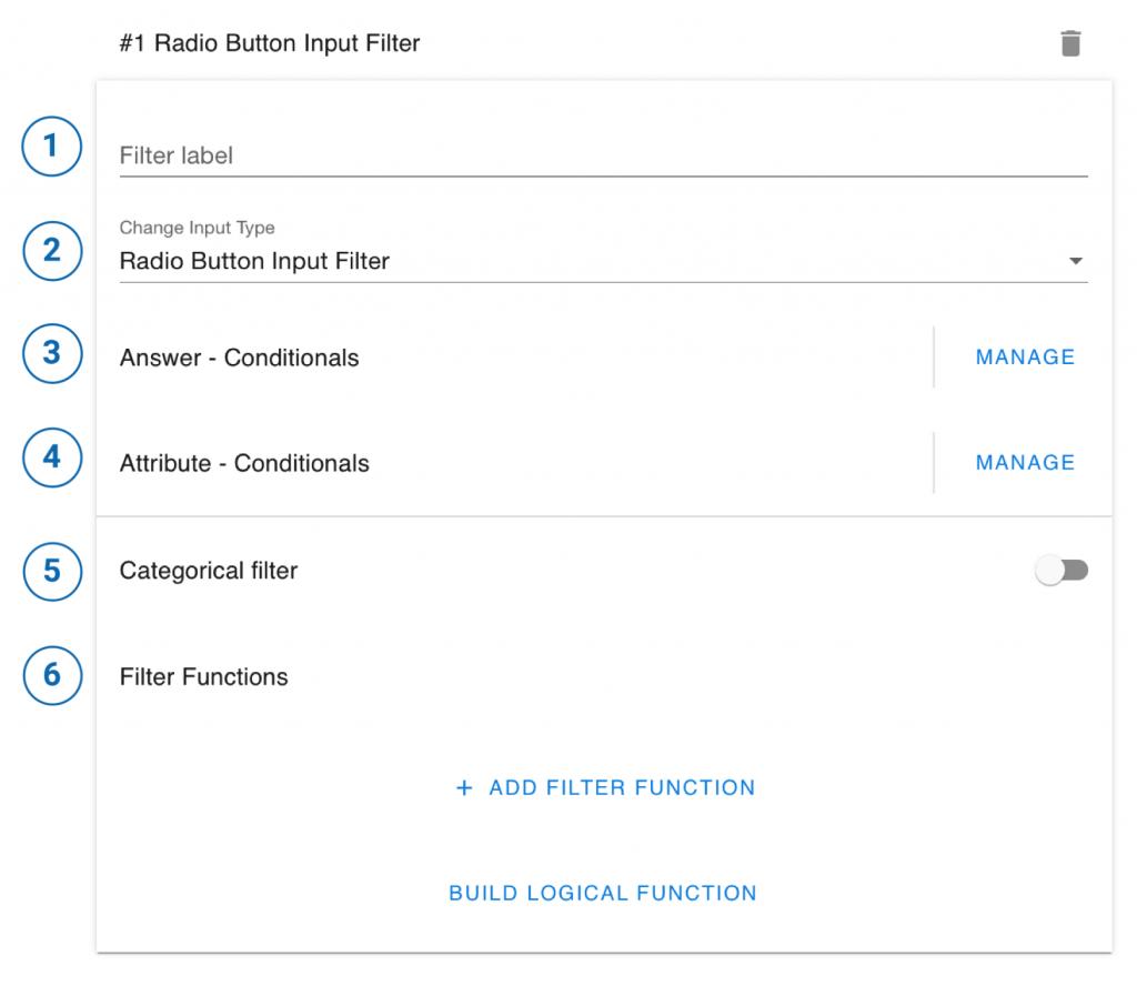 radio button input filter
