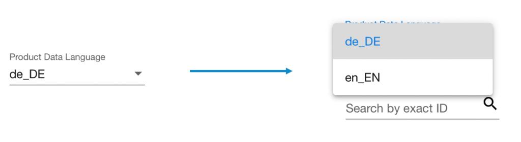Sprachauswahl bei Produktupload