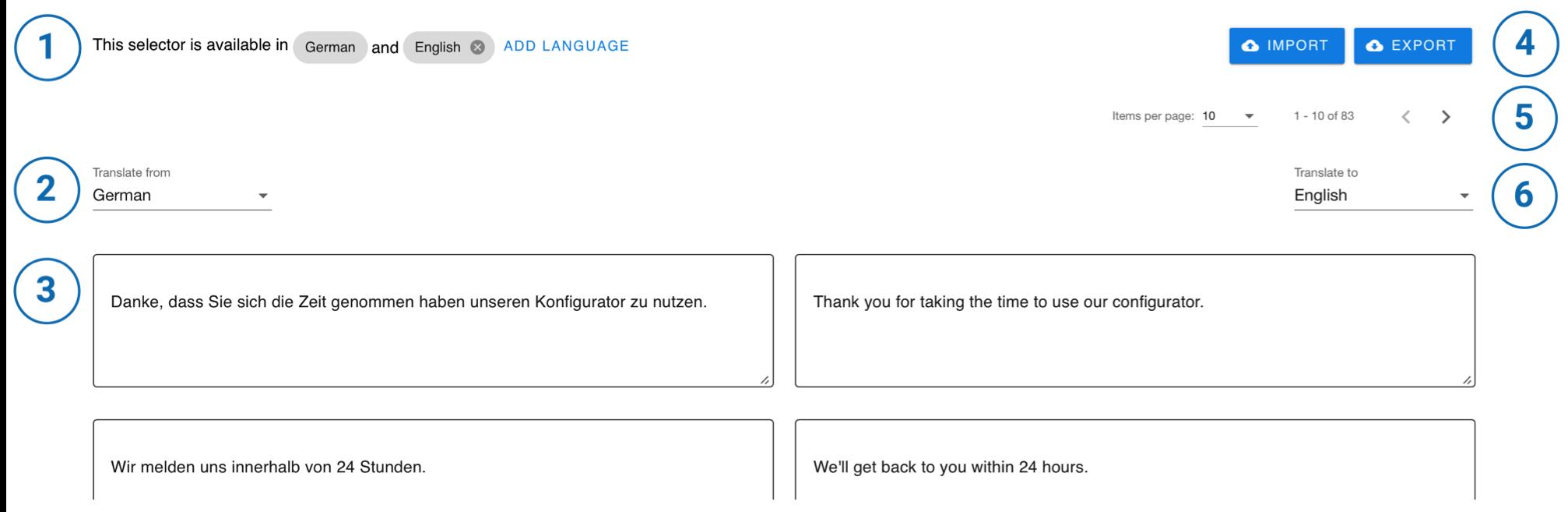 Benutzeroberfläche Übersetzungen